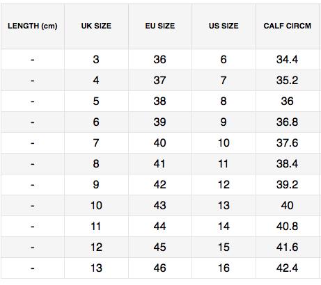 Domina 2020 Boot Dimensions Chart