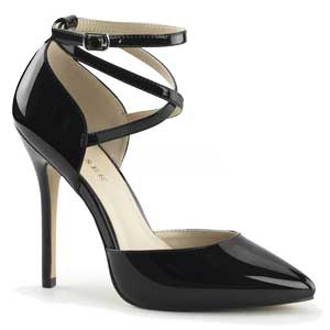 Amuse 25 in Black Patent by Pleaser USA