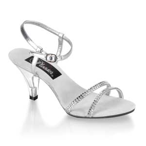 Belle 316 low heel open toe sandal with rhinestone details