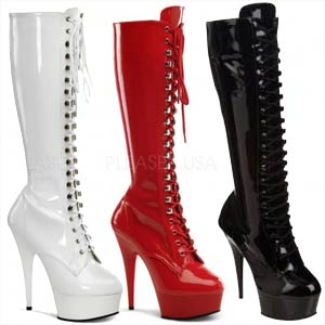 """Delight 2023 6"""" stiletto heel raised front platform lace-up boot by Pleaser USA."""