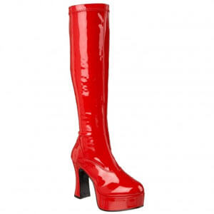 Exotica 2000 block heel raised platform knee boot by Pleaser USA in Hot Pink Patent Material