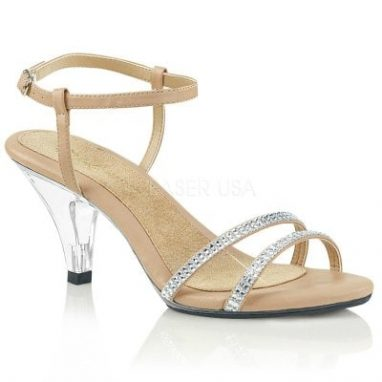 Belle 316 Nude faux leather on clear