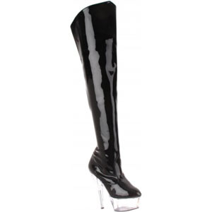 Kiss 3010 six inch platform thigh boot in black on clear by Pleaser USA