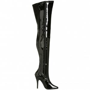 """Seduce 3000 thigh high 5"""" stiletto heel boot in black patent material by Pleaser USA"""