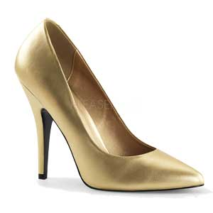 Seduce 420V classic court shoe with stiletto heel in Gold PU