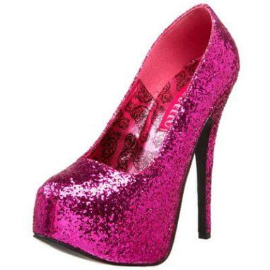 Teeze 06GW hot pink glitter platform shoe