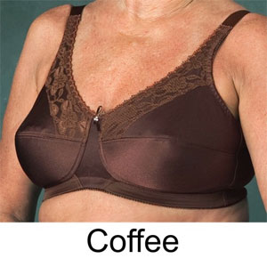 satin and lace pocket bra in Coffee