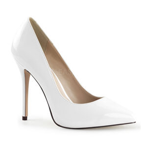 Amuse 20 white patent by Pleaser USA