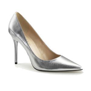 Classique 20 four inch closed toe court shoe in Silver metallic PU.