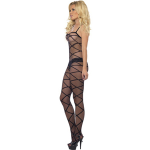 Sheer crotchless body stocking