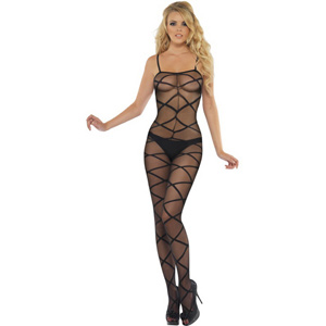 Sheer patterned crotchless body stocking