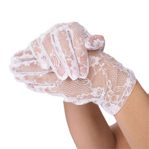 Wrist length white lace gloves
