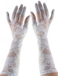 Elbow length white stretch lace gloves.