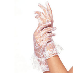 Wrist Length Raised Collar Lace Gloves