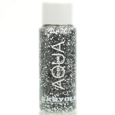 Aqua color liquid glitter silver