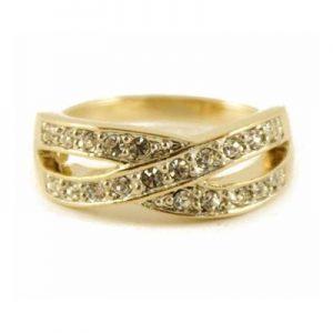 Golden lattice diamante ring