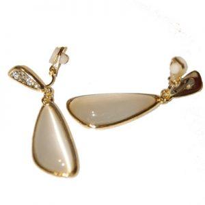 Crop crystal encrusted clip-on earrings