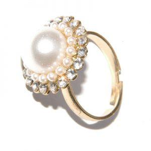 Golden pearl adjustable ring