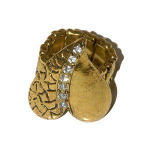 Gilt expanding rhinestone ring