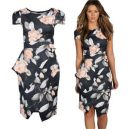 Asymmetric Peplum Floral Print Midi Dress