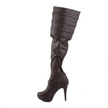 Pink label chloe 308 black thigh boot