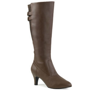 Divine 2018 Brown Faux Leather knee boot