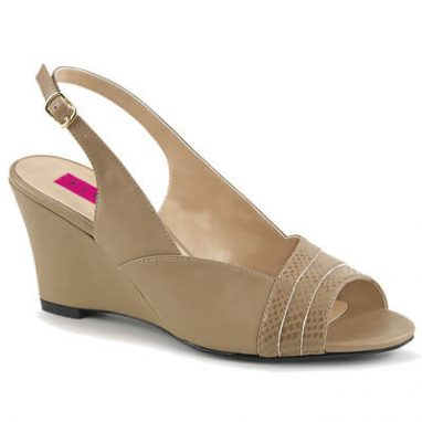 Kimberly-01SP Wedge Sandal Taupe faux leather