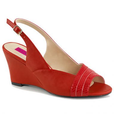 Kimberly-01SP Wedge Sandal red faux leather
