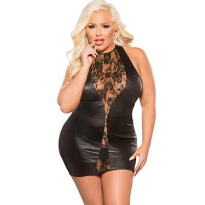fb76fea2b3020d Lace wet look dress for the ladies with those extra curves.