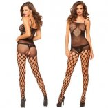 Lotus pattern open crotch body stocking