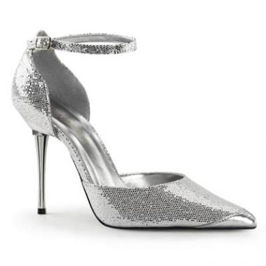 Appeal 21 silver woven glitter ladies court shoes