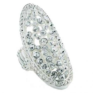 Silver colour crystal oval design elasticated ring.