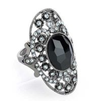 Hematite colour crystal and black glass bead oval adjustable ring