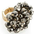 Gold colour hematite glass beaded elasticated ring