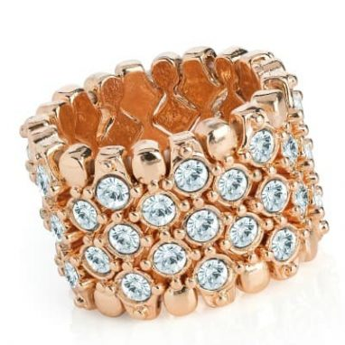 Rose gold colour crystal elasticated ring