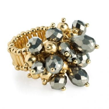 Golden hematite colour glass bead cluster elasticated ring