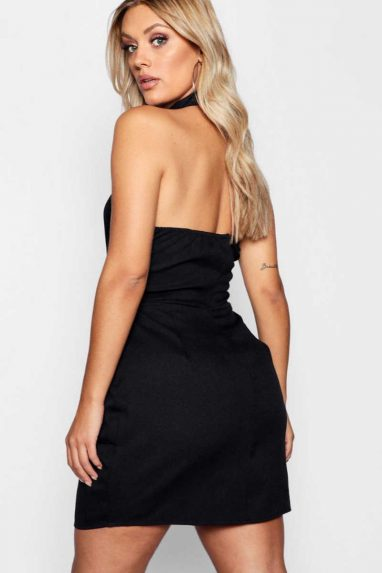Buckle Neck Caged Detail Dress