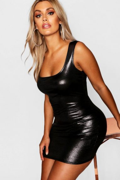 Metallic square neck bodycon dress