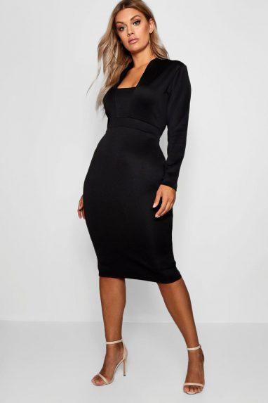Plunge High Collar Midi Dress