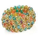 Gold colour and multicolour glass bead elasticated bracelet.