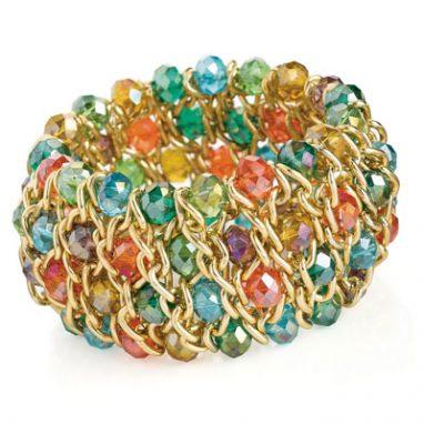 Gold colour and multicolour glass bead elasticated bracelet.