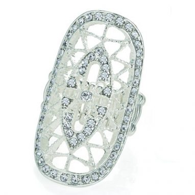 <strong>R17 </strong>Silver colour crystal oval design elasticated ring