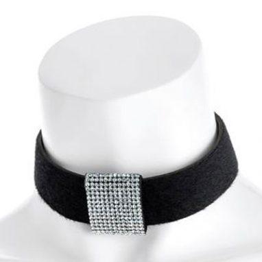 black velvet look crystal choker necklace.