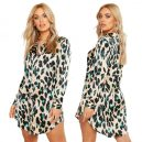 Leopard Satin Shirt Dress