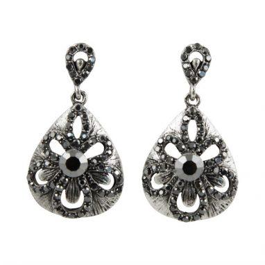 <strong>ER2 </strong> Diamante Encrusted Flower Clip-On Earrings