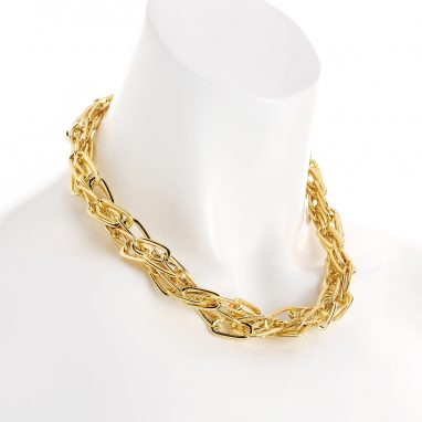 Two row gold colour twisted design metal chain necklace