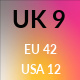 UK 9 / US 12 / EU 42