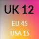 UK 12 / US 15 / EU 45