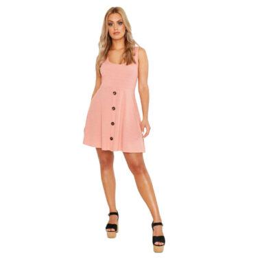Plunge Button Down Skater Dress