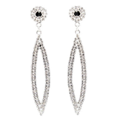 Diamante Leaf Clip On Earrings